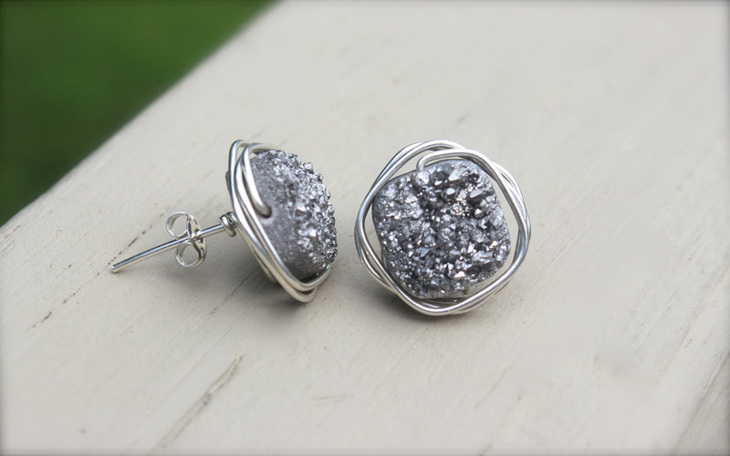 Silver Druzy Earrings - Designed By Lei