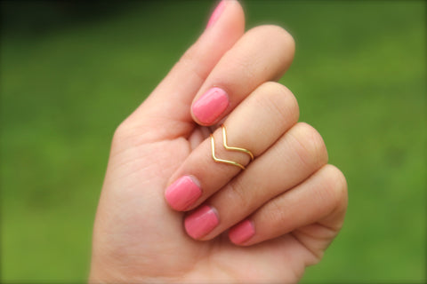 Chevron Knuckle Rings - Set of 2