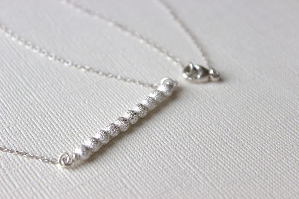 Silver Beaded Bar Necklace - Designed By Lei