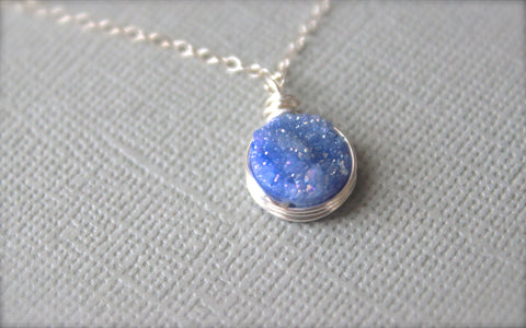Purple Druzy Pendant Necklace