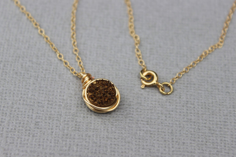 Gold Druzy Pendant Necklace