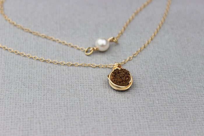 Gold Druzy Pendant Necklace - Designed By Lei