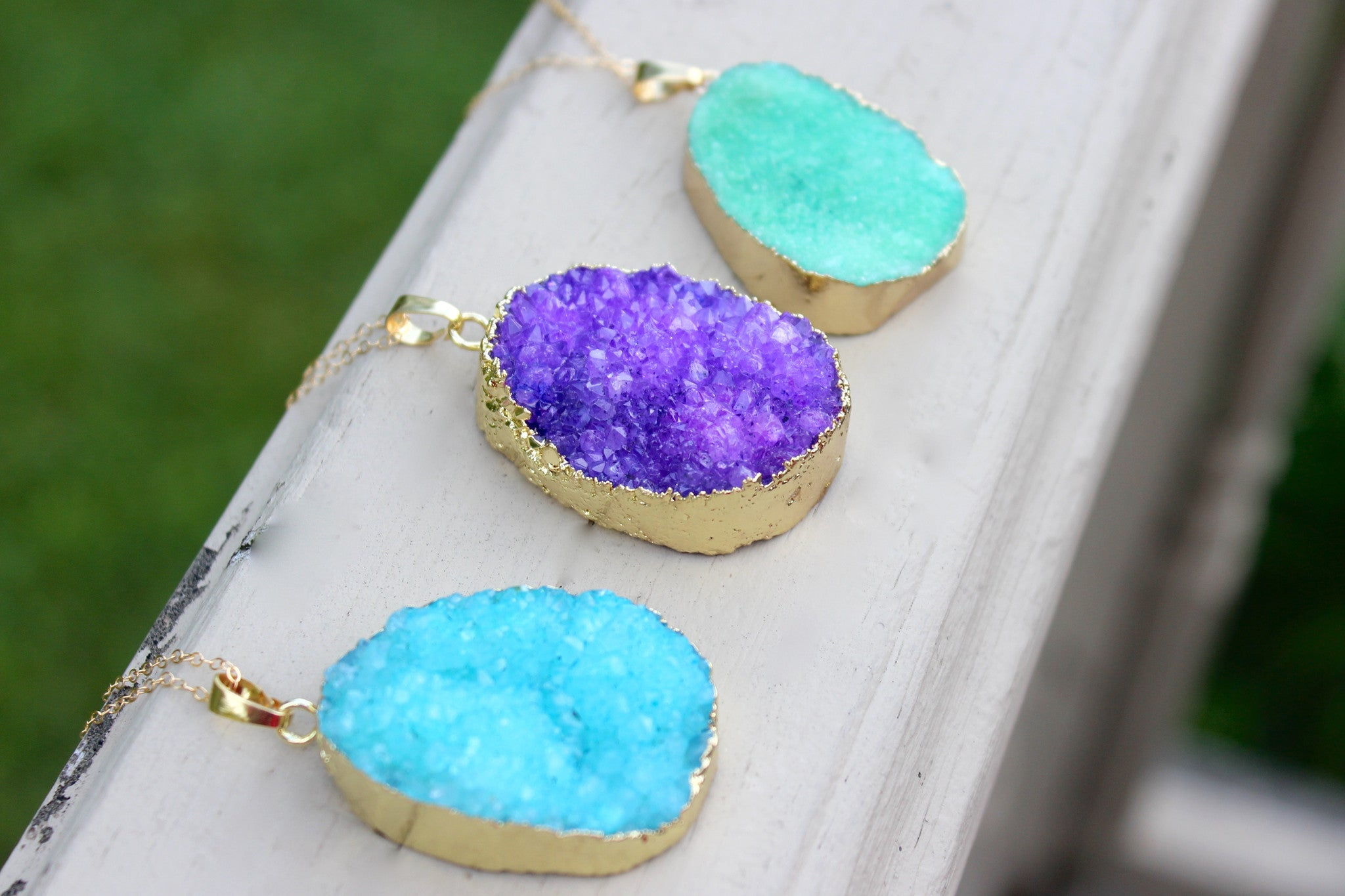 Druzy Pendant Statement Necklace - Designed By Lei
