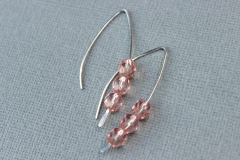 Open Hoop Earrings with Pink Beads