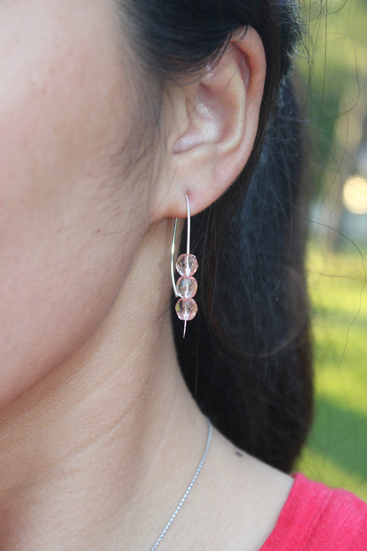 Open Hoop Earrings with Pink Beads - Designed By Lei