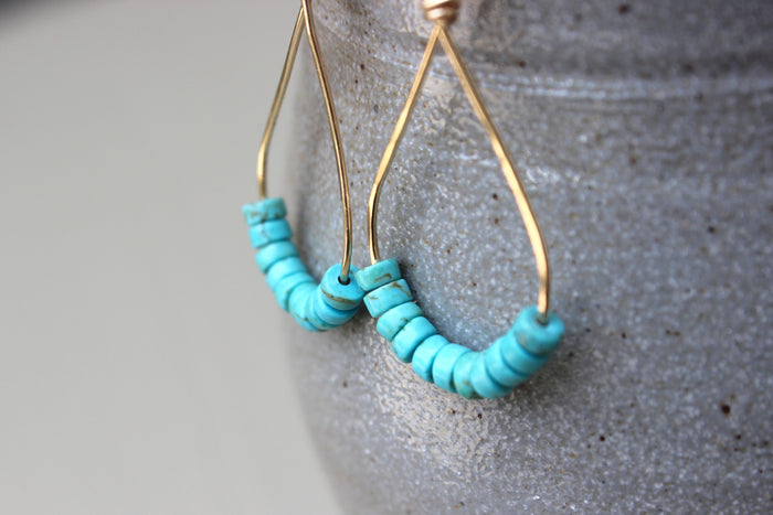 Turquoise Drop Earrings - Designed By Lei