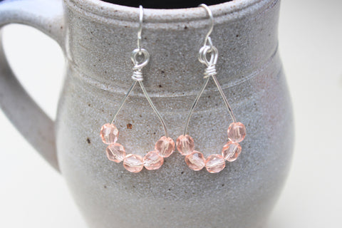 Pink Czech Drop Earrings