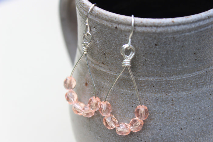 Pink Czech Drop Earrings - Designed By Lei