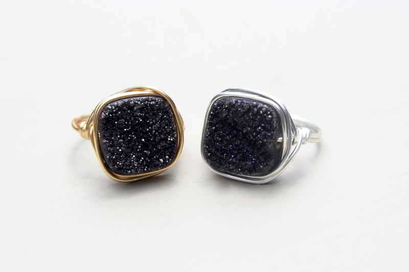Black Druzy Statement Ring - Designed By Lei
