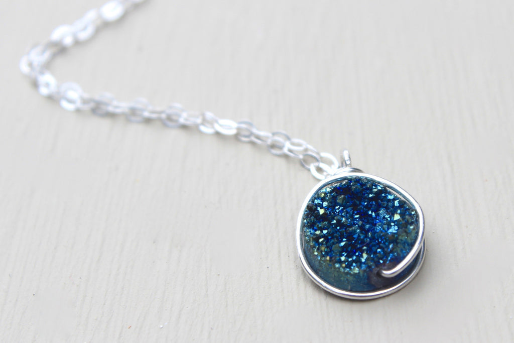 Blue Druzy Necklace - Designed By Lei