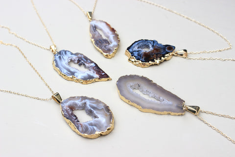 Druzy Quartz Pendant Necklace