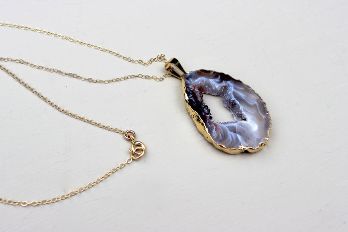 Druzy Quartz Pendant Necklace - Designed By Lei