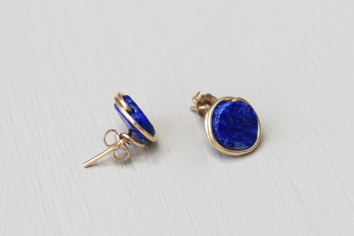 Lapis Lazuli Stud Earrings - Designed By Lei