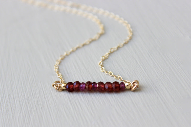 Garnet Bar Necklace - Designed By Lei
