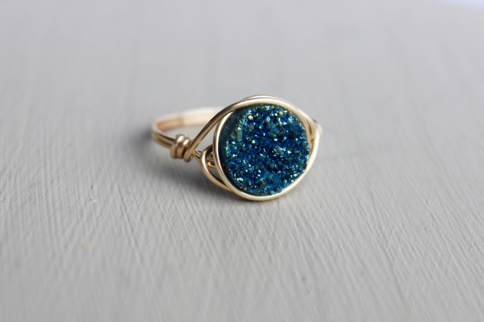 Blue Druzy Ring - Designed By Lei