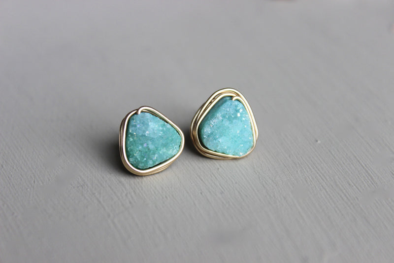 Triangle Turquoise Earrings - Designed By Lei