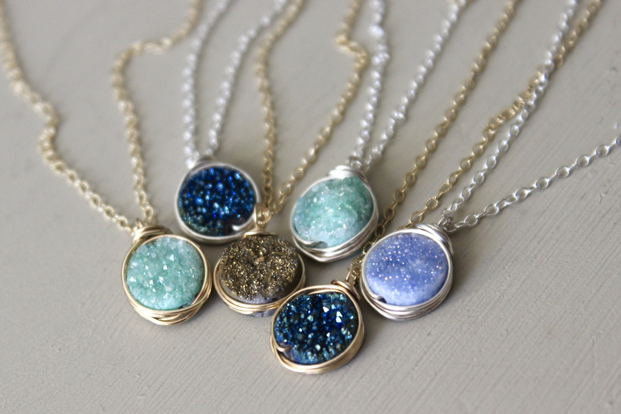 Druzy Pendant Necklace - Designed By Lei
