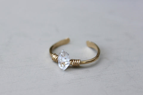 Solitaire Herkimer Diamond Ring