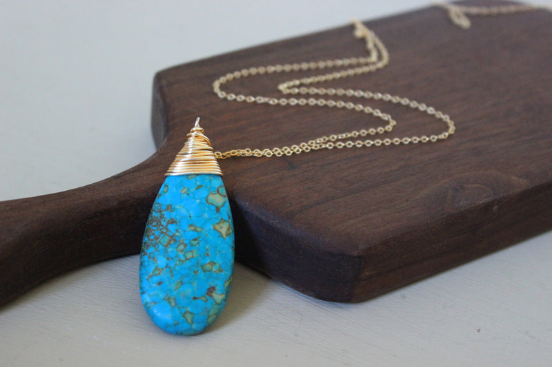 Turquoise Drop Necklace - Designed By Lei