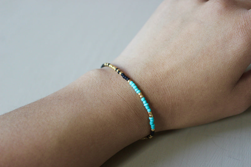 Turquoise, Black & Gold Bracelet - Designed By Lei