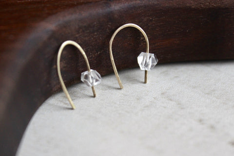 Herkimer Diamond Arc Earrings