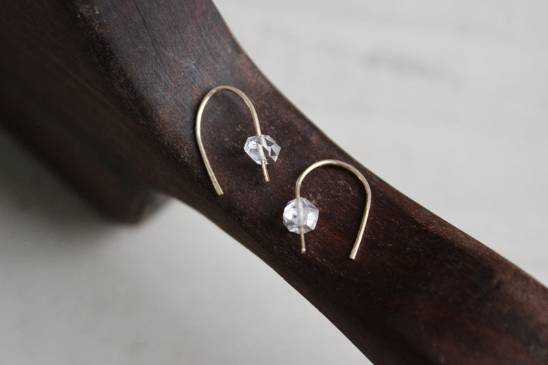 Herkimer Diamond Arc Earrings - Designed By Lei