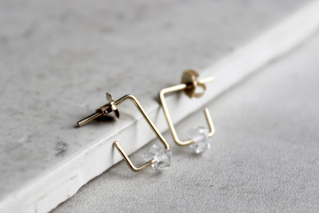 Square Herkimer Diamond Hoop Earrings - Designed By Lei