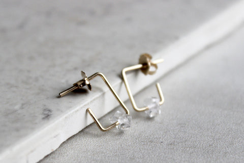 Square Herkimer Diamond Hoop Earrings