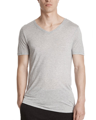color: Heather Grey|alt:ATM Modal Jersey V-Neck Tee