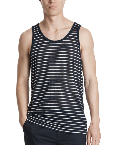 color:Midnight/White Stripe|alt:ATM Linen Striped Tank