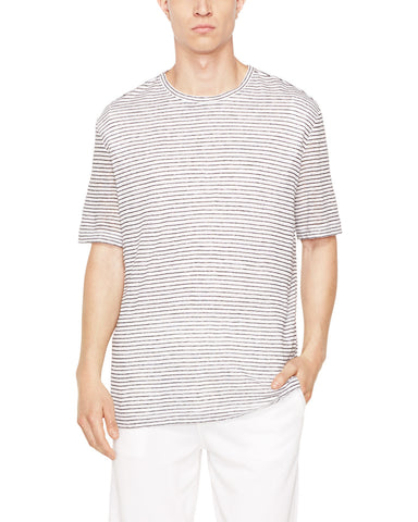 Striped Linen Relaxed Fit Crew Neck Tee