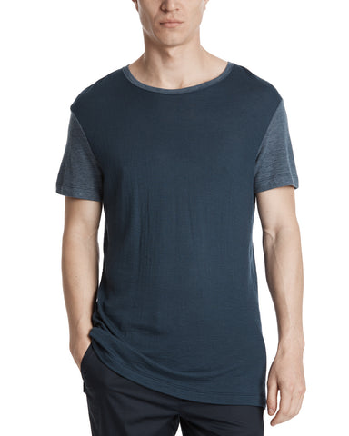 color:NAVY|alt:ATM Modal Jersey Relaxed Fit Mixed Media Tee