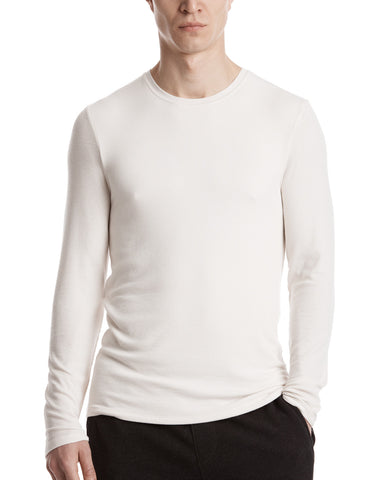 color:Dusty Ivory|alt:ATM Modal Rib Long Sleeve Crew