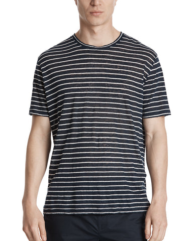 color:Midnight/White Stripe|alt:ATM Linen Striped Relaxed Fit Crew Neck Tee