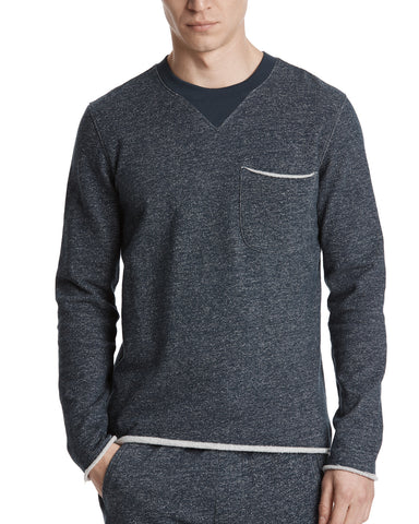 color:Navy/Ivory Blast|alt:ATM Brushed Terry Raw Trim Sweatshirt