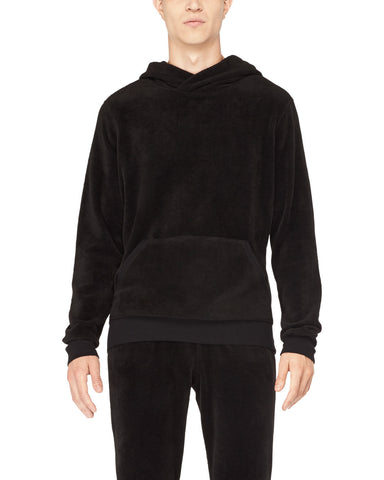 Relaxed Fit Velour Pull-Over Hoodie