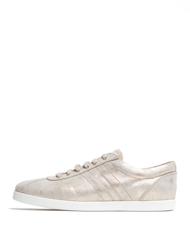 color:Gold/Beige Metallic Leather|alt:ATM Bleecker Lace-Up Sneaker