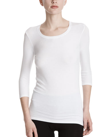 color:White|alt:ATM Modal Rib Ballet Neck 3/4 Sleeve Tee
