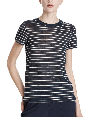 color:Midnight/White Stripe|alt:ATM Linen Striped Schoolboy Crew Neck Tee