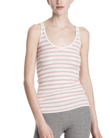 color:Chalk/Nutmeg Stripe|alt:ATM Modal Rib Striped Deep-V Tank