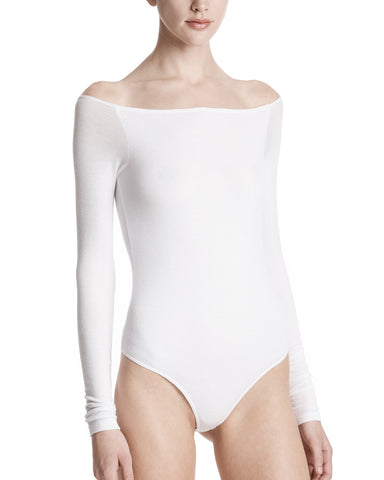 color:White|alt:ATM Modal Rib Off The Shoulder Bodysuit
