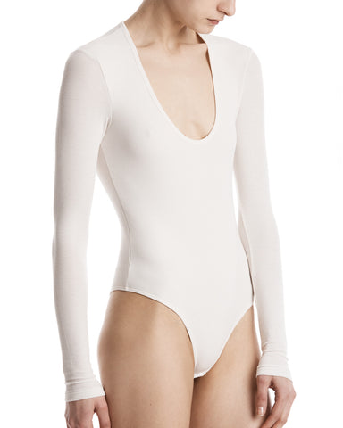color:Dusty Ivory|alt:ATM Modal Rib Long Sleeve Scoopneck Bodysuit