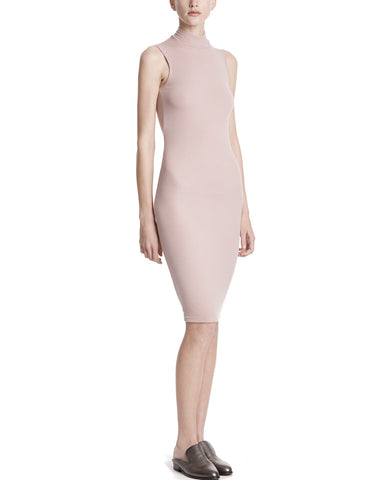 color:Nutmeg|alt:ATM Modal Rib Sleveless Mock Neck Dress