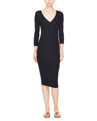 Modal Rib 3/4 Sleeve Wrap Dress
