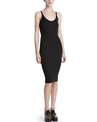 color:Black|alt:ATM Modal Rib Deep-V Neck Dress