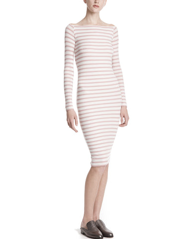 color:Chalk/Nutmeg Stripe|alt:ATM Modal Rib Off The Shoulder Dress