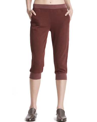 color:Brown Stone|alt:ATM French Terry Cropped Sweat Pants