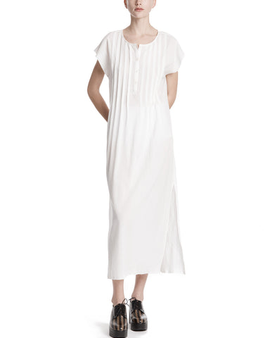 color:White|alt:ATM Gauze Pleated Front Boho Dress
