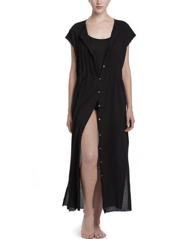 color:Black|alt:ATM Gauze Pleated Front Beach Coverup