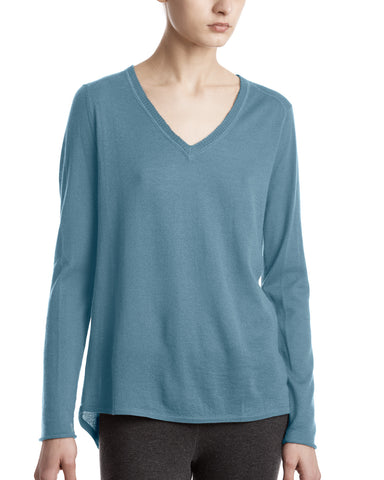 color:French Blue|alt:ATM Cashmere Raw Trim V-Neck Sweater